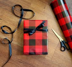 Lumberjack Red and Black Buffalo plaid wrapping paper By CM Wrap-N-Ship Supply