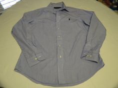 Mens Polo Ralph Lauren Custom Fit 15 1/2 34/35 long sleeve button up Shirt EUC @ #PoloRalphLauren #ButtonFront