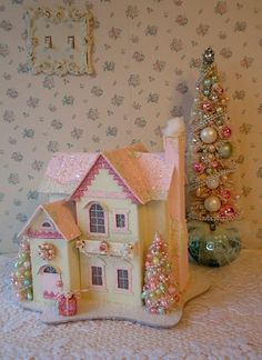 Shabby Pink Chistmas House- Bottle Brush Trees