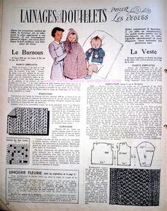 Revue Vintage « Mon ouvrage » 1950 avec patrons, couture, tricot, crochet, broderie, recettes de cuisine …