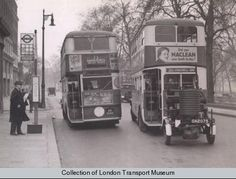 To save fuel 150 London buses (such as on the right in shot) were converted to run on producer gas during the war. This was made by injecting water into burning coal in a trailer unit towed behind a bus, Vintage London, Old London, East London, Rt Bus, Save Fuel, London Transport Museum, The Blitz, Double Decker Bus, London Pictures