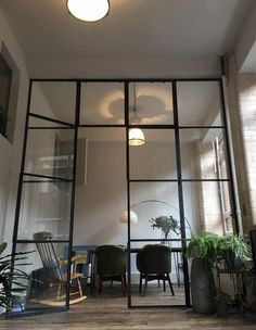 35 Inspiring Partition Apartment Ideas - When you live in a small house or small apartment, people find that they have a space problem. Small houses and apartments usually consist of a large . Partition Door, Room Divider Doors, Room Doors, Steel Windows, Windows And Doors, Steel Doors, Glass Partition Designs, Crittal Doors, Home Office Shelves