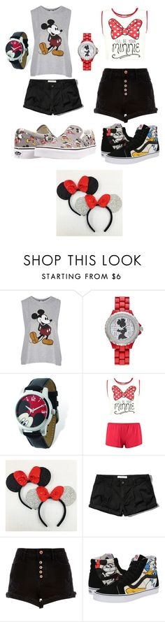 """""""BFF outfits for Disneyland/ Disney world"""" by ejneeley ❤ liked on Polyvore featuring Topshop, Disney, Abercrombie & Fitch, River Island and Vans"""