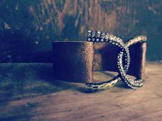 Brushed Leather Rhinestone Cuff Bracelet – Bella Blu Bottoms