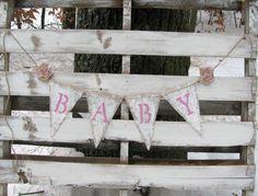 Shabby Chic Baby Burlap Banner Gender by LittleZebrasBoutique, $25.00