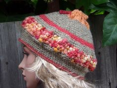 BERET MULTICOLORED HAT Crochet Hand Knitted Ladies Beanie by PepiZ
