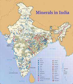 ICSE Solutions for Class 10 Geography - Minerals in India - A Plus Topper Geography Map, Physical Geography, Geography Worksheets, Teaching Geography, Gk Knowledge, General Knowledge Facts, India World Map, India Gk, Ias Study Material