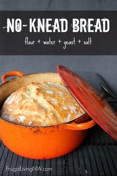 Simple no-knead bread recipe. This bread is crispy on the outside and soft on the inside with only 5 minutes of hands-on time. Perfect recipe for beginners. www.frugallivingn...