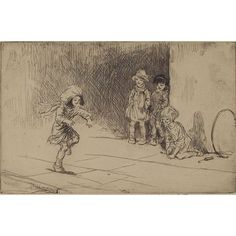 """Eileen Alice Soper (British, 1905-1990) """"Hopscotch,"""" c. 1940, etching"""