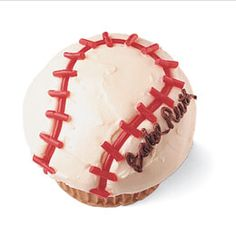 Baseball Cupcake- making these for Christians Birthday at school next week :)