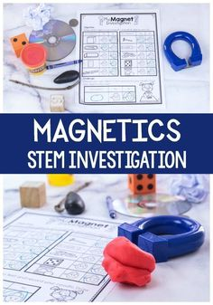 Get kids excited about magnets with this easy STEM printable Get kids excited about STEM with this easy Magnets STEM activity for preschoolers! Kids will love exploring what is magnetic and what isn't with this print & go STEM activity. Stem Science, Preschool Learning Activities, Preschool Science, Kindergarten Worksheets, Science For Kids, Preschool Activities, Kids Learning, Science Experiments, Kindergarten Learning