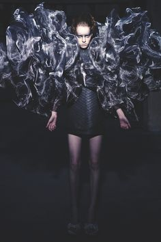 "Sculptural Fashion - wearable ""smoke"" dress sculpted from woven metal gauze to create a voluminous 3D structure; fashion as art // Iris van Herpen"