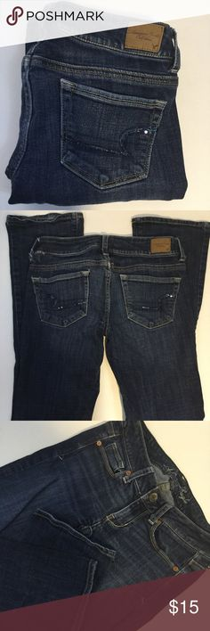 """AMERICAN EAGLE SKINNY KICK STRETCH JEANS SZ 0 Great little pair of AE Skinny Kick Stretch jeans. One flaw...a belt loop on the backside has caused a small rip between belt loop and waistline (pic 2) No frays or signs of wear on hems!  Size 0 Inseam 28"""" Waist 14"""" Rise 6"""" Length 33""""  Please comment with any questions and feel free to make an offer with the blue button! ⭐️ Purchase by noon EST and item(s) ship the same day!  Bundle items and save! Free shipping on all items over $20, just offer…"""