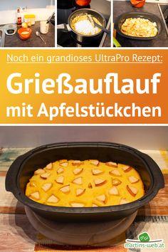 Ein Rezept wie aus Oma's Küche! Dieser Grießauflauf ist sehr einfach zu backen, hat eine schöne Kruste und ist innen ganz weich. Die Apfelstückchen machen ihn frisch und fruchtig. Probier's aus! [Werbung da Markennennung, selbst gekauft] #grießauflauf #auflauf #omasküche #familienküche #rezeptefürjedentag #einfacheküche #backen #rezepte #rezeptblog #ultrapro #ultraprorezept #tupperware Tupperware, Chili, Curry, Soup, Ethnic Recipes, Recipes, Souffle Dish, Pork Roast