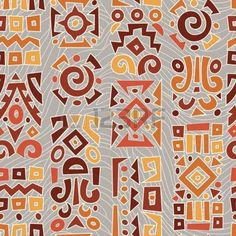 Illustration of Ethnic African geometrically typical pattern vector art, clipart and stock vectors. Batik Pattern, Pattern Art, Pattern Design, Ethnic Patterns, Textures Patterns, Print Patterns, Tribal Images, Tribal Designs, Motifs Aztèques