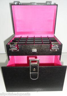 OPI ✿ Luxury Nail Tech Storage Case That Holds 24 Polishes ✿✿✿ Black Hot Pink   eBay