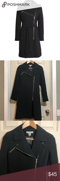 """H&M """"Black biker coat"""". Size 2. Size 2 EUC DESCRIPTION Fitted coat in woven fabric with decorative seams at shoulders. Asymmetric zip at front, chest pocket with zip, and side pockets with flap. Belt loops at waist and vent at back. Lined. I do not have the tie belt!  DETAILS 93% polyester, 7% spandex. Dry clean only  Art.No. 31-7789  Imported H&M Jackets & Coats"""