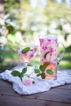 Image: by Sylvia Fountaine, of Feasting at Home. Wild Rose Petal Sangria. #BeautifulDrinks #sangria #cocktails