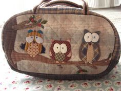 CUTE: handmade and hand applique Little Owl pouch, quilted