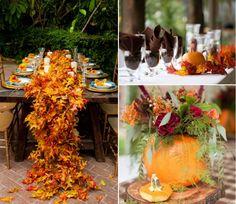 idées de décoration de table pas chère en feuilles et citrouilles pour un mariage d'automne