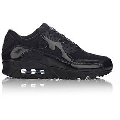 Nike Women's Air Max 90 Premium Sneakers (2.678.100 VND) ❤ liked on Polyvore featuring shoes, sneakers, nike, black, black low top sneakers, lace up shoes, low profile sneakers, flat sneakers and nike sneakers