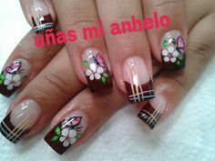 MARIPOSA Animal Nail Designs, Toe Nail Designs, French Nails, Pretty Nail Designs, Hair Skin Nails, Acrylic Nail Art, Flower Nails, Gorgeous Nails, Toe Nails