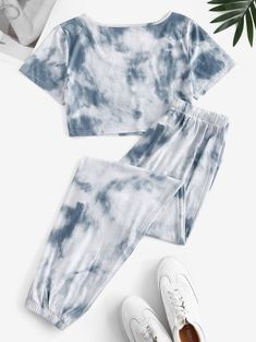 Juego De Jogger De Tie-dye Con Cordón Y Camiseta - Gris Claro M Girls Fashion Clothes, Teen Fashion Outfits, Edgy Outfits, Outfits For Teens, Really Cute Outfits, Cute Lazy Outfits, Cool Outfits, Cute Pajama Sets, Cute Sleepwear