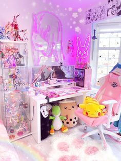 Room Design Bedroom, Girl Bedroom Designs, Room Ideas Bedroom, Room Decor, Kawaii Games, Kawaii Bedroom, Gaming Room Setup, Pc Setup, Otaku Room