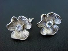 Flowery cubic zirconia studs by wishbee on Etsy, $16.50