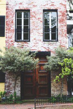 wooden door, brick townhouse in Georgetown, Washington, DC. Exterior Design, Interior And Exterior, Townhouse Exterior, White Wash Brick, Townhouse Designs, Brick And Stone, City Living, Wooden Doors, Luxury Homes