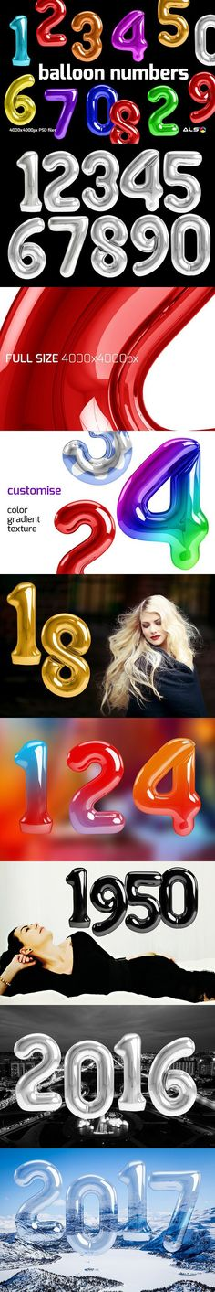Balloon numbers. Photoshop Shapes. $7.00
