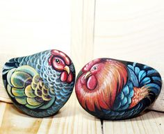 Stone painting (couple chicken)