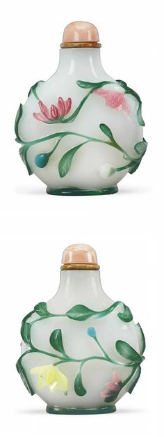 A FIVE-COLOR OVERLAY WHITE GLASS SNUFF BOTTLE   1780-1850   The flattened, rounded bottle is finely carved through the magenta, pale pink, turquoise, lemon-yellow and bluish-green overlays with scrolling lotus.  2 in. (5.1 cm.) high, hardstone stopper