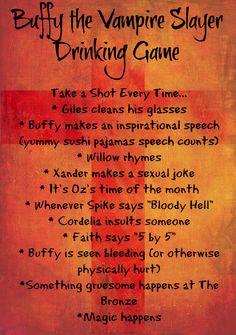 Buffy the Vampire Slayer Drinking Game seasons 1-4