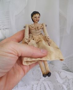 Folk Art Primitive Doll Miniature Dollhouse Vintage Style Antique Look Aged