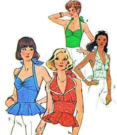 1970s Halter Top Pattern Simplicity 6357 Womens Back Button Halter Top with or without Peplum Vintage Sewing Pattern Bust 34     Pinned by WhatnotGems