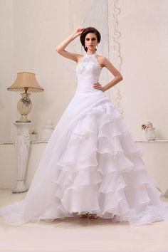 A-Line White Organza Court Train High Neck Wedding Dress