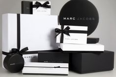 Classic black & white packaging design for Marc Jacobs