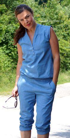 lillesol & pelle Schnittmuster/ pattern Sommerhose / Summer pants und Blusenshirt zusammengesetzt