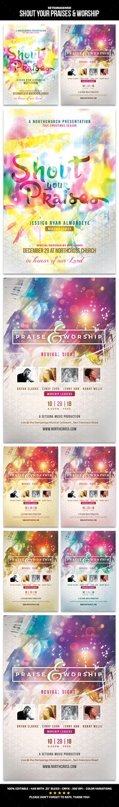 Shout your Praises & Worship Church Flyers by SetsunaSensei Shout your Praises & Worship Church FlyersThese flyers are perfect for promoting your church upcoming concert. Flyer Design Templates, Print Templates, Flyer Template, Worship Night, Praise And Worship, Worship Jesus, Flyer Inspiration, Festival Download, Concert Flyer