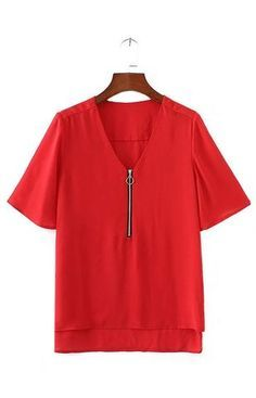 Trendy-Road-Style-Shop-Online-Woman-Fashion-Street-blouse-zipper-vneck-chiffon-short-blue