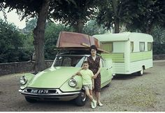 Citroen DS with camper trailer and boat.