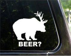 "Bear plus Deer equals BEER Funny 5"" Vinyl Decal Widow Sticker for Car, Truck, Motorcycle, Laptop, Ipad, Window, Wall, ETC"