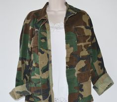 New Listing! Vintage Military Camo Shirt Coat Jacket Army by founditinatlanta, $35.00