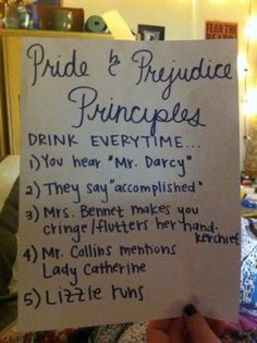 Pride and Prejudice tea drinking game! For those Jane Austen nights. Jane Austen, Power Dressing, Mr Darcy, Pride And Prejudice, Tea Party, Party Drinks, Book Worms, Nerdy, Geek Stuff