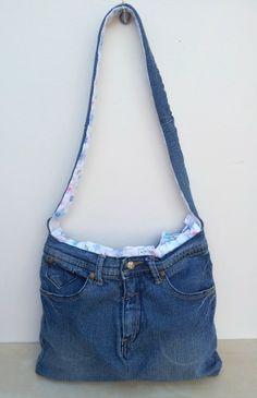Girl's upcycled jeans bagJade Handmade