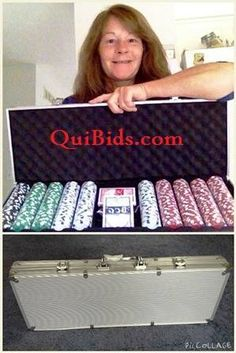 Janise won this 500 chip poker set for $0.03 using only 2 voucher bids! #QuiBidsWin
