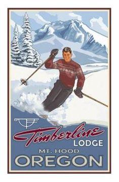 Ski at Timberline Lodge MT Hood Oregon Vintage Sign! Snow Skiing, Alpine Skiing, Nordic Skiing, Chalet Ski, Vintage Ski Posters, Vintage Prints, Timberline Lodge, Stations De Ski, Best Ski Goggles