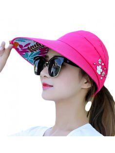 260b586e852 Wide Brim Summer Folding Hat UV Protection Sun Cap Beach Hat For Women -  Rose -
