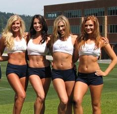 """it's gigantic and it's just the place for our Seahawks and A few of the Seattle Seahawk """"Seagals""""Seagals to get their game on for this upcoming s… High School Cheerleading, Cheerleading Pictures, Professional Cheerleaders, Ice Girls, Football Cheerleaders, Girls In Mini Skirts, American Sports, Fantasy Football, Sport Girl"""